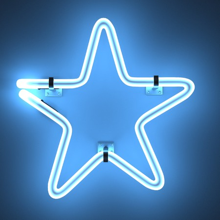 stars: 3d render of neon lights - star Stock Photo