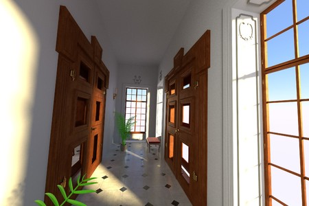 guest house: 3d render of luxury manor interior - entrance hall