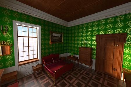 manor: 3d render of luxury manor interior - bedroom