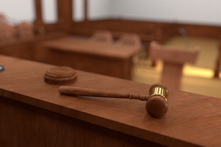3D render van de rechtszaal
