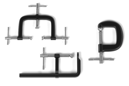 clamps: 3d render of industrial clamps