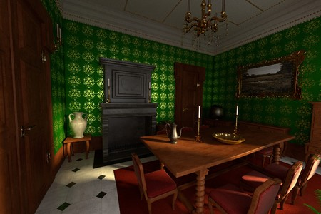baroque room: 3d render of luxury manor interior - dining room
