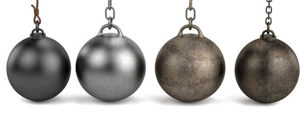 ball and chain: 3d render of wrecking balls