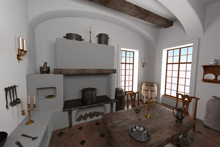 baroque room: 3d render of luxury manor interior - kitchen Stock Photo