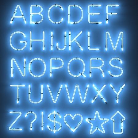 ネオン灯の 3 d レンダリングのアルファベット