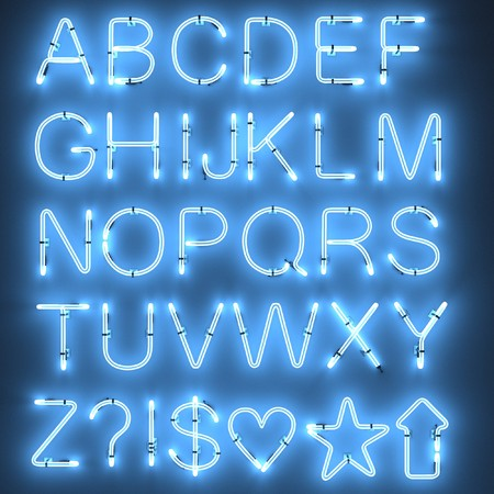 3d render of neon lights - alphabet
