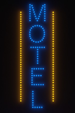 motel: 3d render of light bulb - motel sign