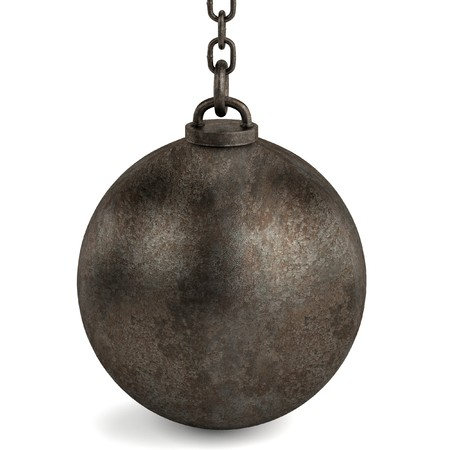 ball chains: 3d render of wrecking ball Stock Photo