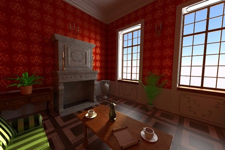 guest house: 3d render of luxury manor interior - living room