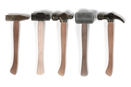 with hammers: 3d render of hammers set
