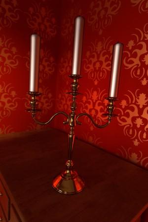 manor: 3d render of luxury manor interior - candlestick