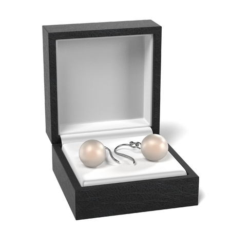 earrings: 3d render of earrings in box