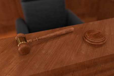 the marshal: 3d render of court room