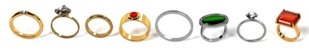 jewellry: 3d render of ring set Stock Photo