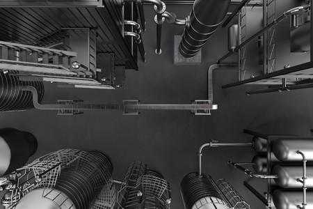 edificio industrial: 3d rinden de la refinería de petróleo Foto de archivo