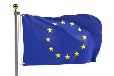 eu: 3d render of EU flag