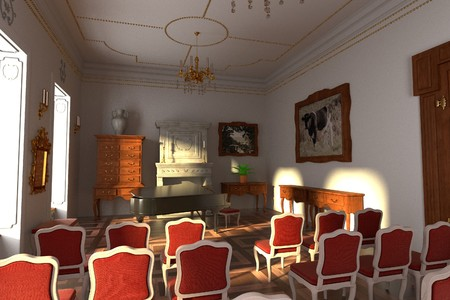 guest house: 3d render of luxury manor interior - hall