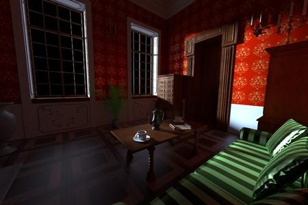 manor: 3d render of luxury manor interior