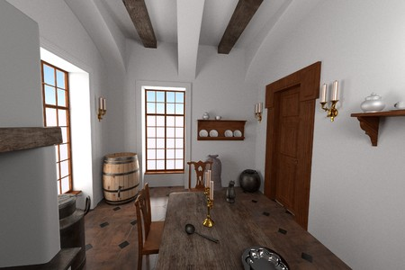 guest house: 3d render of luxury manor interior - kitchen Stock Photo