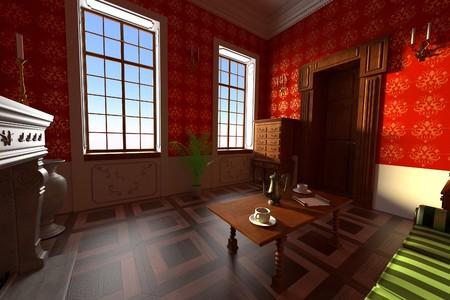 manor: 3d render of luxury manor interior - living room
