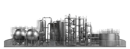 oil refinery: 3d render of oil refinery Stock Photo