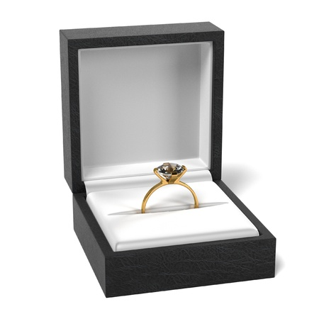 wed: 3d render of ring in box Stock Photo
