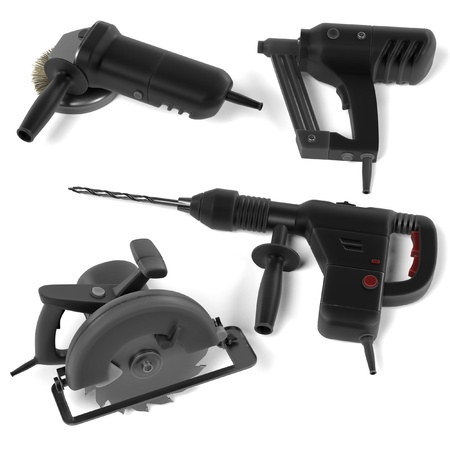 power tools: 3d render of power tools