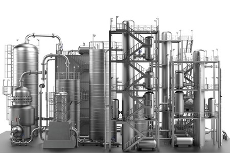 3d render of oil refinery Stock Photo - 41399812