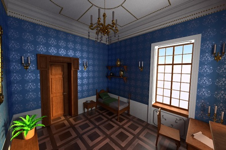 guest house: 3d render of luxury manor interior
