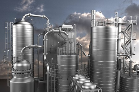 refinery: 3d render of oil refinery Stock Photo