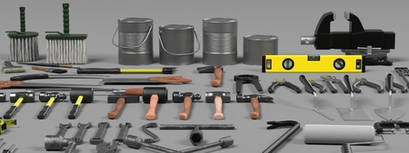 colection: 3d render of large colection of tools