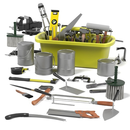 crowbar: 3d render of tool box Stock Photo