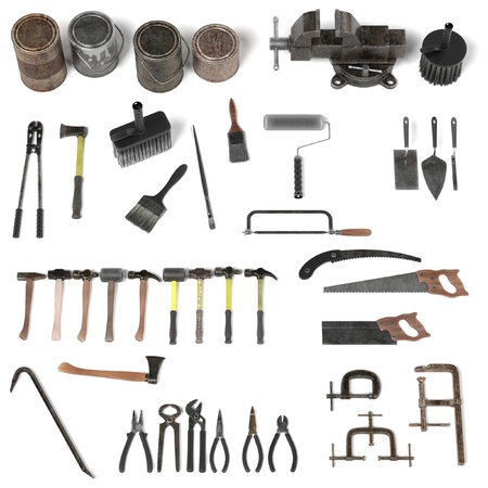crowbar: 3d render of large colection of tools