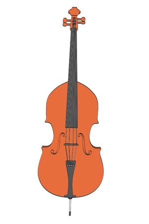 2d: 2d cartoon illustration of bass musical instrument Stock Photo