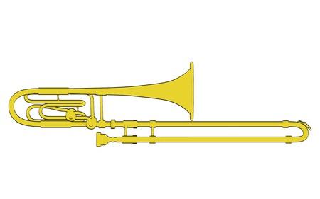 trombone: 2d cartoon illustration of bass trombone Stock Photo