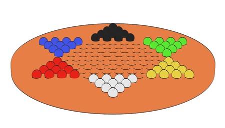 illustraion: 2d cartoon illustraion of chinese checkers