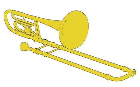 trombone: 2d cartoon illustration of bass trombone Stock Photo