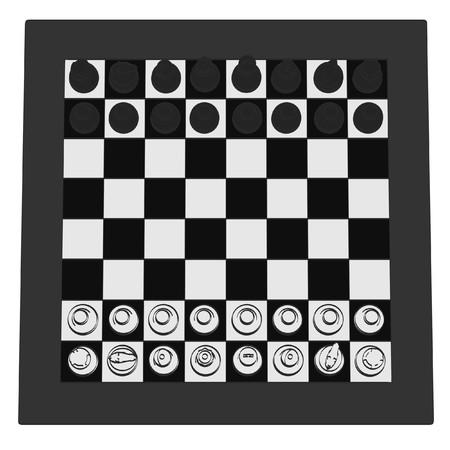 illustraion: 2d cartoon illustraion of chess Stock Photo