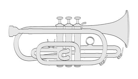 Illustraion 2d dibujos animados de corneta Foto de archivo