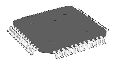 micro chip: 2d cartoon illustraion of computer chip