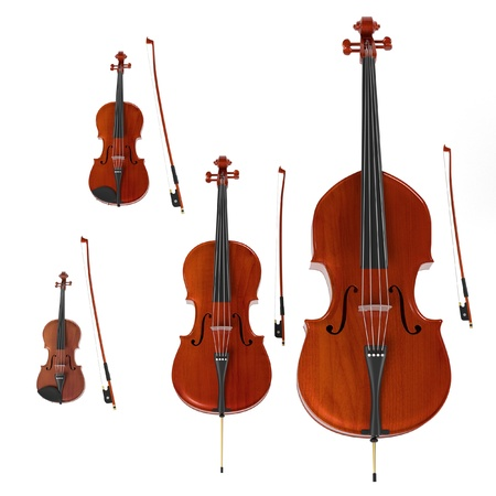 double bass: 3d rendering of string musical instruments Stock Photo
