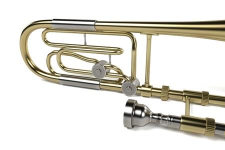 trombone: 3d rendering of bass trombone Stock Photo