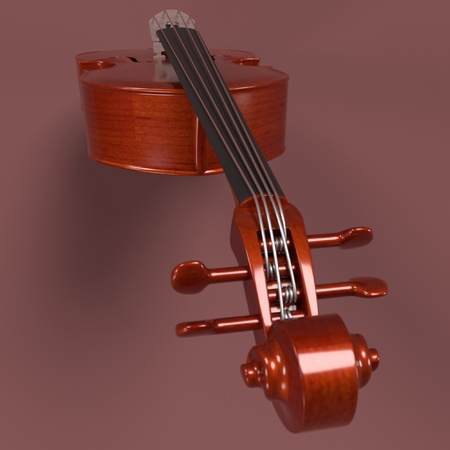 bass: 3d rendering of bass - musical instrument Stock Photo