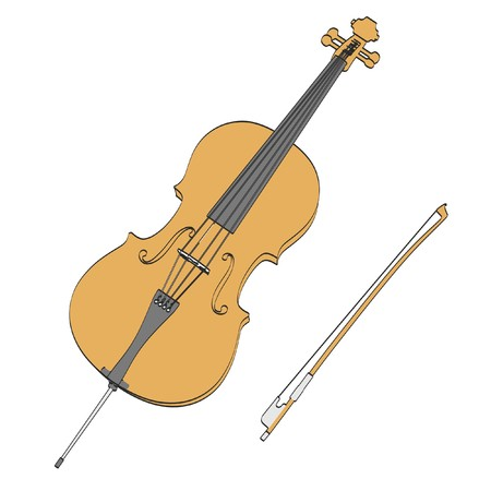 cellos: 2d cartoon illustraion of cello