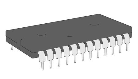 illustraion: 2d cartoon illustraion of computer chip