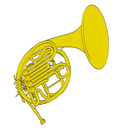 2d: 2d cartoon illustration of french horn