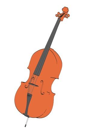 cellos: 2d cartoon illustration of bass musical instrument Stock Photo