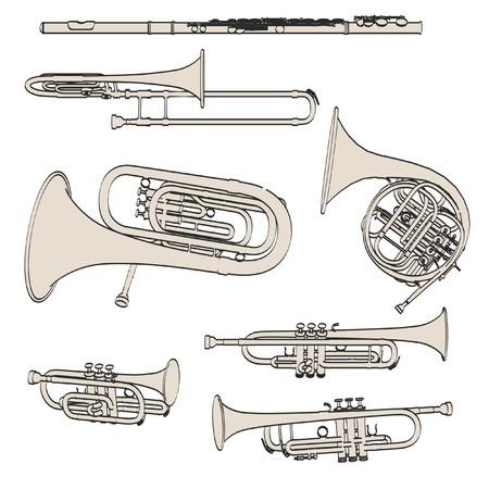 cornet: 2d cartoon illustraion of brass musical instruments Stock Photo
