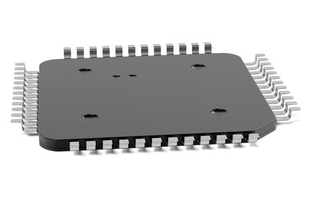 semiconductor: 3d rendering of computer chip