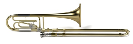 brass wind: 3d rendering of bass trombone Stock Photo